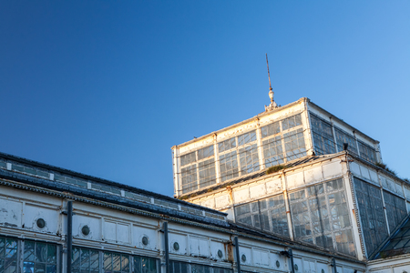 Winter Gardens historic architecture. Great Yarmouth Marine Parade golden mile glass seaside building in need of repair. Stock Photo