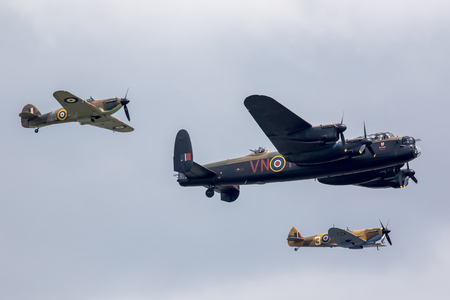 Great Yarmouth, Norfolk, UK, June 16th 2018: RAF Battle of Britain Memorial flight at Yarmouth's first air show. Hurricane, Lancaster bomber and spitfire Royal Air Force planes flying in formation