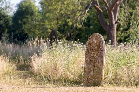 Pintoresco cementerio de la campiña inglesa. Antiguo cementerio rural cementerio cementerio en verano con árboles y flores silvestres.