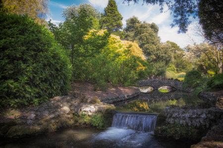 Scène de rivière paysage d'été pittoresque idyllique avec belle cascade et pierre, pont. La campagne anglaise stéréotypée ruisselle comme une terre de contes fantastiques.