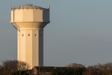 Water tower. Massive water pressure storage building Caister Norfolk UK. 1920s built structure used for water supply. Unique architecture. Stock Photo