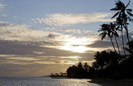 Beautiful Hawaiian beach sunset Stock Photo