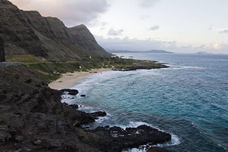 Rocky coastline of Oahu Stock Photo