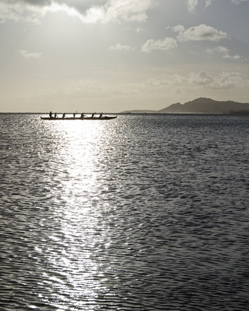 Outrigger canoe paddling in Hawaii