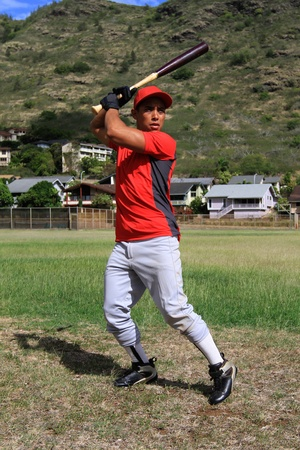 Baseball player poses at bat
