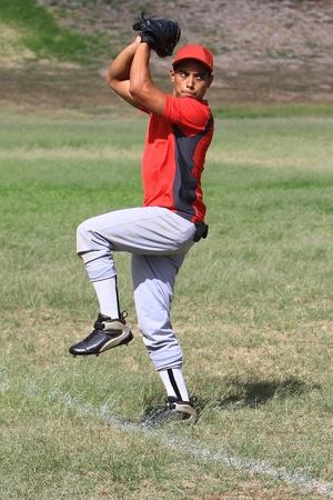 baseball stadium: Baseball pitcher stands ready to throw