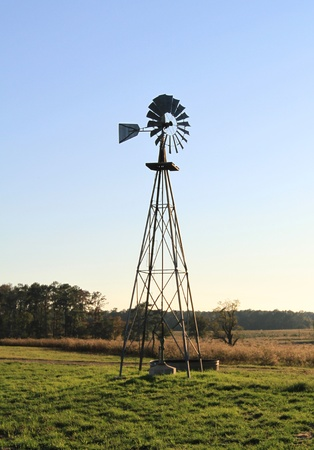 Farm windmill silhouette