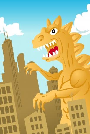 Dinosaur Monster Attacking a City Vector