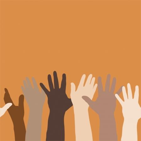 Hands up  horizontally seamless  Illustration