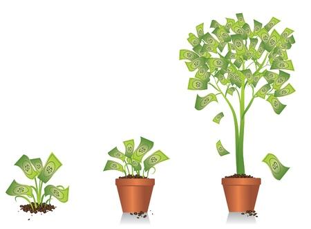 金のなる木の成長  イラスト・ベクター素材