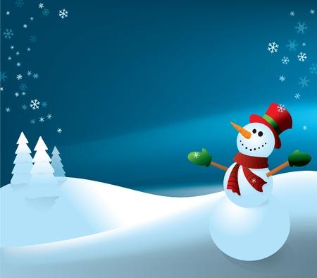 Snowman   night background  Illusztráció