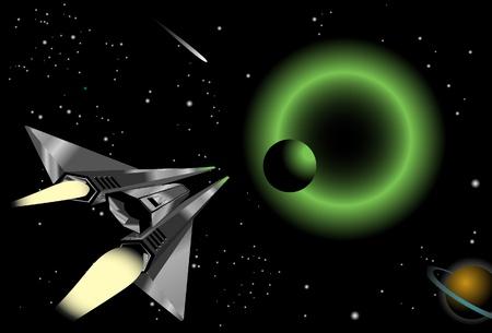 kelly green: Spaceship Illustration