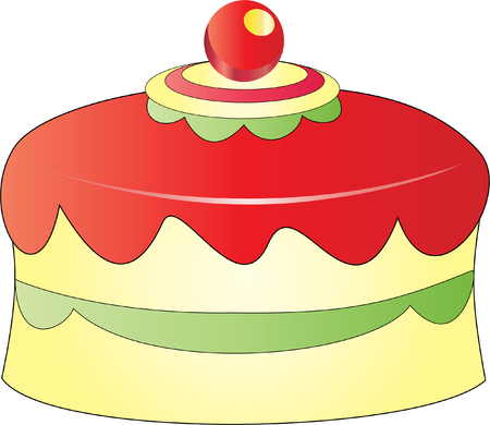 toppings: A cute cake with red toppings and cherry