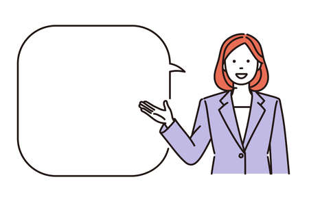 It is a simple illustration of a business woman explaining. Vector data that is easy to edit.