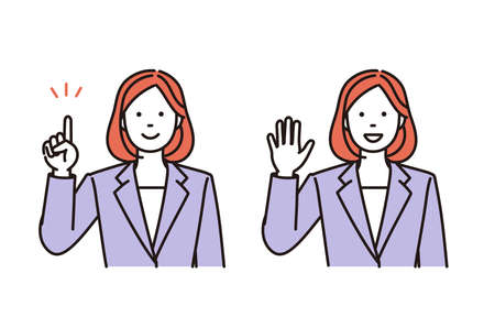 It is a simple illustration set of the business woman to explain or say hello. Vector data that is easy to edit.