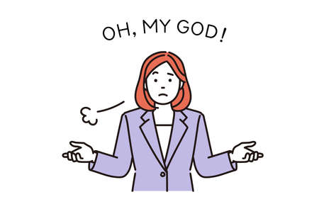 It is a simple illustration of a business woman who shrugs and poses hand-up. Vector data that is easy to edit. Vektoros illusztráció
