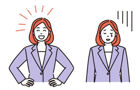 It is a simple illustration set of a business woman who is pleased or depressed. Vector data that is easy to edit. Vektoros illusztráció