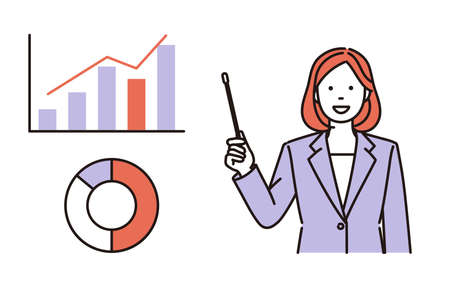 It is a simple illustration of a business woman who shows a graph and explains with a point bar. Vector data that is easy to edit.