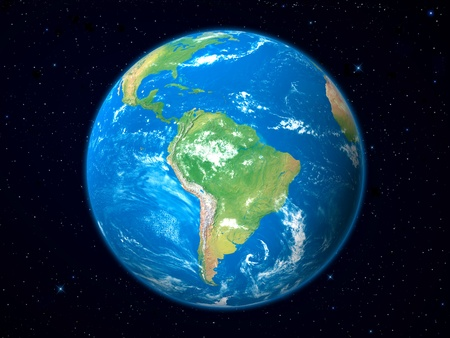 Earth Model from Space: South America View