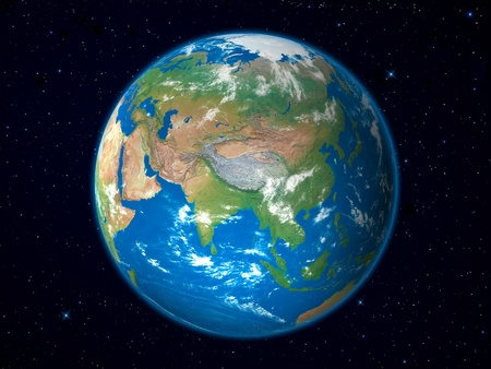 Earth Model from Space: Asia View Archivio Fotografico