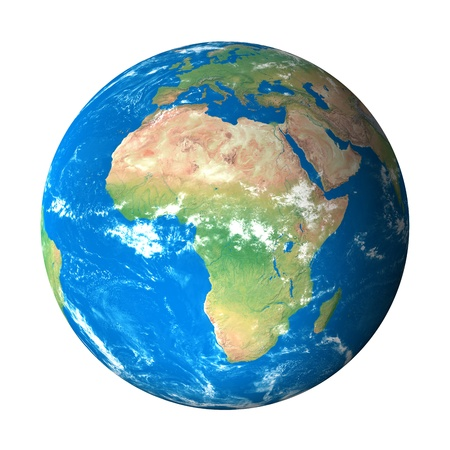 Earth Model from Space: Africa View Stock Photo