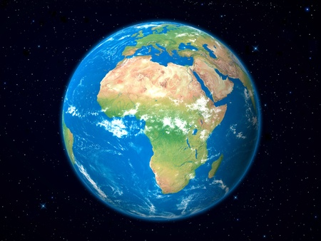 comoros: Earth Model from Space: Africa View Stock Photo