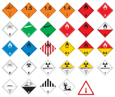 Hazardous pictograms - goods signs Stock Vector - 13287847