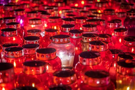 memorial candle: Memorial Day - Group of Candles Group of candles - lamps with candle lights  All Saint s Day