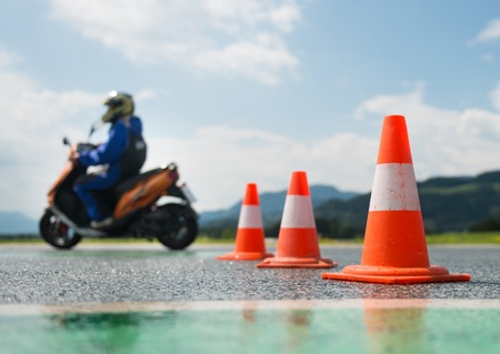 traffic cone: Motorcycle education school training Stock Photo