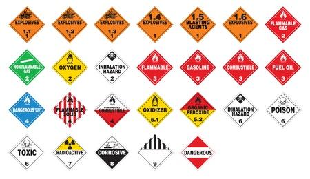 Hazardous materials - Hazmat Placards Stock Illustratie