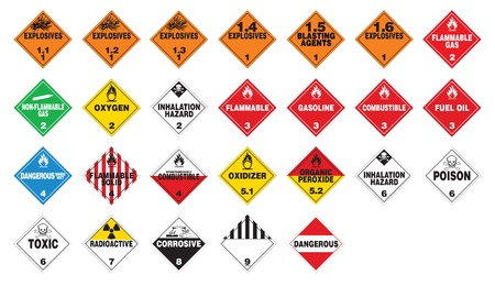 materiales peligrosos: Los materiales peligrosos - Hazmat Placards Vectores
