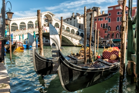 Gondolas at Rialto Bridge Stock Photo