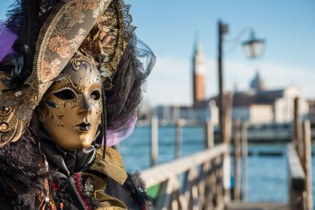 venice mask: Golden Venetian Carnival Mask