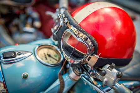 Vintage Motorcycle helmet Stock Photo