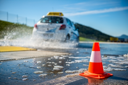 traffic cone: Car education training school Stock Photo