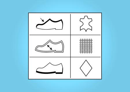 Cipő lábbeli címkék és szimbólumok - illusztráció