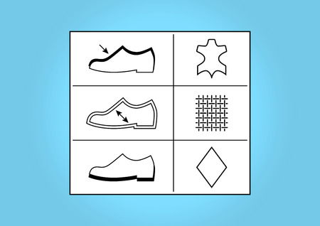 Shoes   Footwear labels and symbols - illustration Çizim