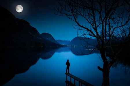 Man Standing by Lake, Covered with Moonlight