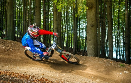 Downhill bike ride Stock Photo