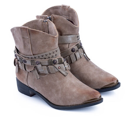 ankle strap: Brown ankle boots Trendy pair of woman s brown shoes on a white background