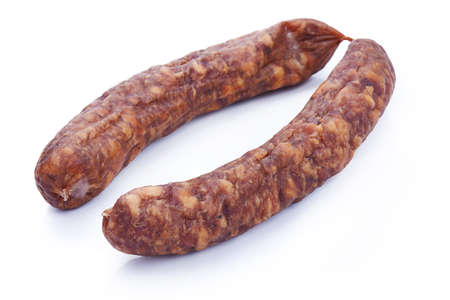Dried salami isolated on white background Stock Photo