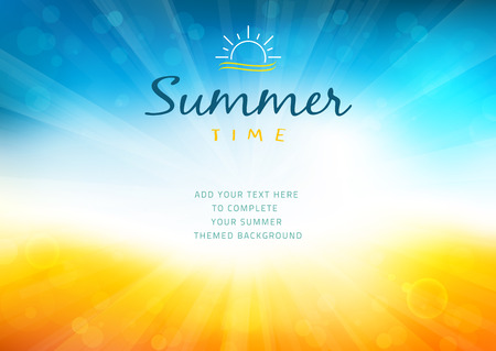 Summer time background with text - illustration