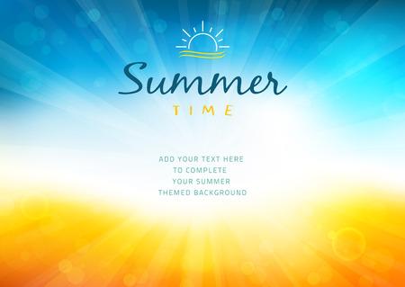background: Fondo del tiempo de verano con el texto - ilustración Vectores