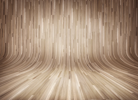 Curved wooden parquet interior Stock Photo