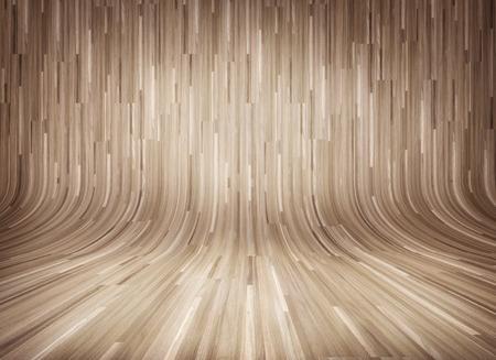 Curved wooden parquet interior Stok Fotoğraf