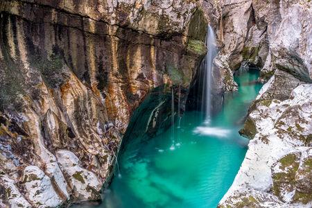green river: Soca River falls Stock Photo