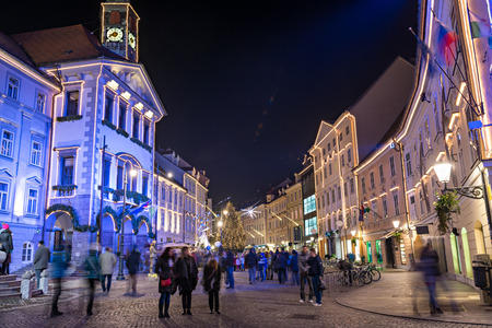 Decorated Ljubljana for New Years holidays, panorama Stock Photo