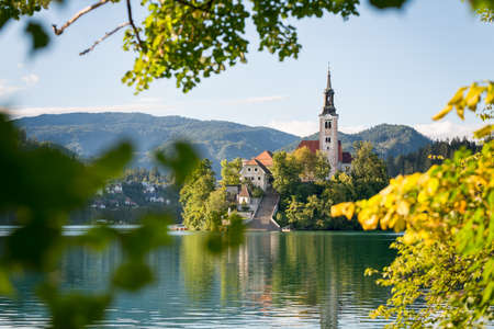 Panoramic view of Lake Bled located in Slovenia Europe. Stock fotó