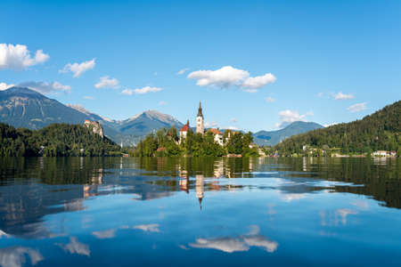 bled: Panoramic view of Lake Bled located in Slovenia Europe. Stock Photo