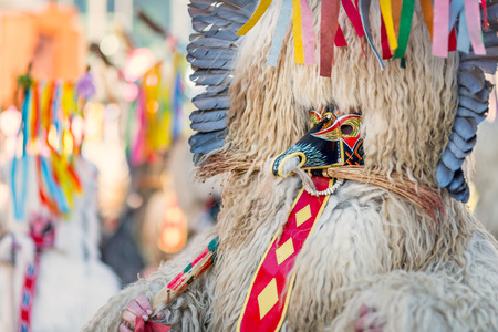 Colorful face of Kurent, Slovenian traditional mask
